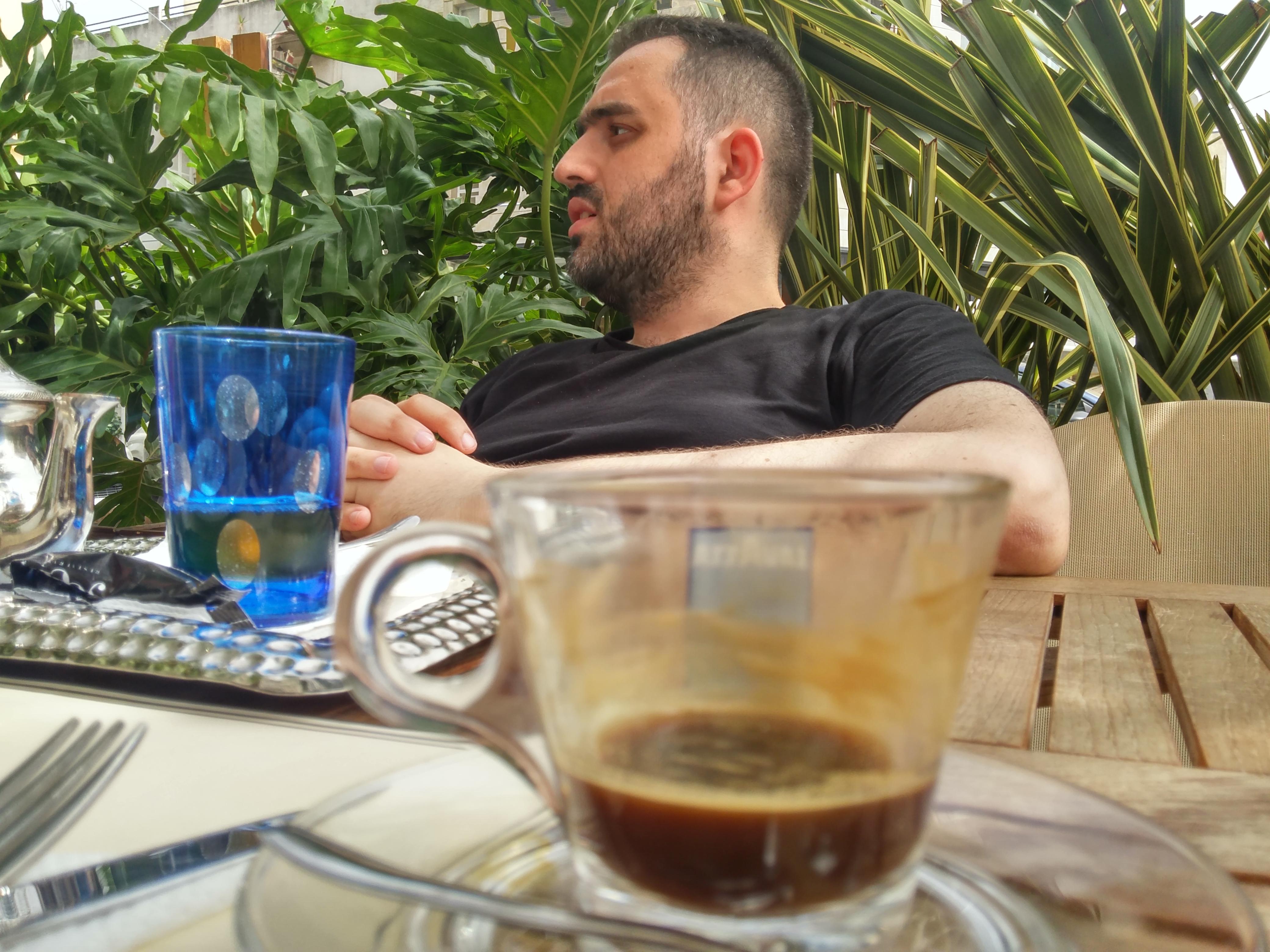 Hamza Mikou Drinking Tea